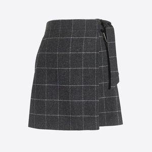J Crew Wrap Wool Windowpane Skirt size 12P